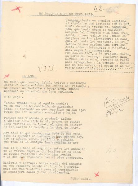 La Lora Manuscrito Rubén Darío Biblioteca Nacional