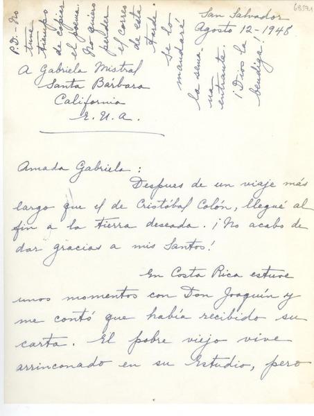 Carta 1948 Ago 12 San Salvador El Salvador A
