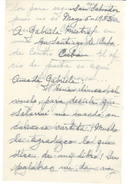 Carta 1953 Mayo 6 San Salvador El Salvador A Gabriela
