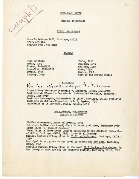 Curriculum Vitae Manuscrito Enrique Lafourcade Biblioteca