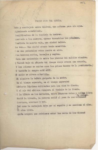 Frases Para Una Sibila Manuscrito Irma Isabel Astorga