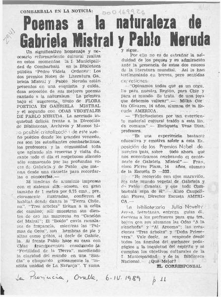 Poemas A La Naturaleza De Gabriela Mistral Y Pablo Neruda