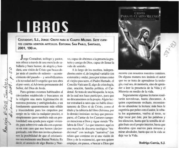 Cristo para el cuarto milenio [artículo] Rodrigo García - Biblioteca ...