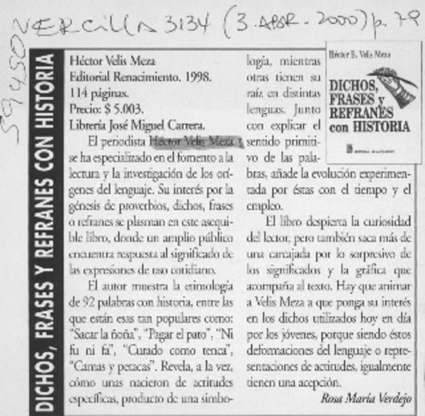 Dichos Frases Y Refranes Con Historia Artículo Rosa María