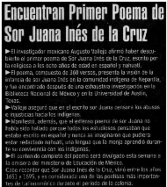 Encuentran Primer Poema De Sor Juana Inés De La Cruz
