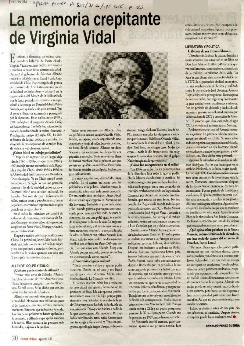a9dc9728cf30 La memoria crepitante de Virginia Vidal [artículo] Arnaldo Perez Guerra.