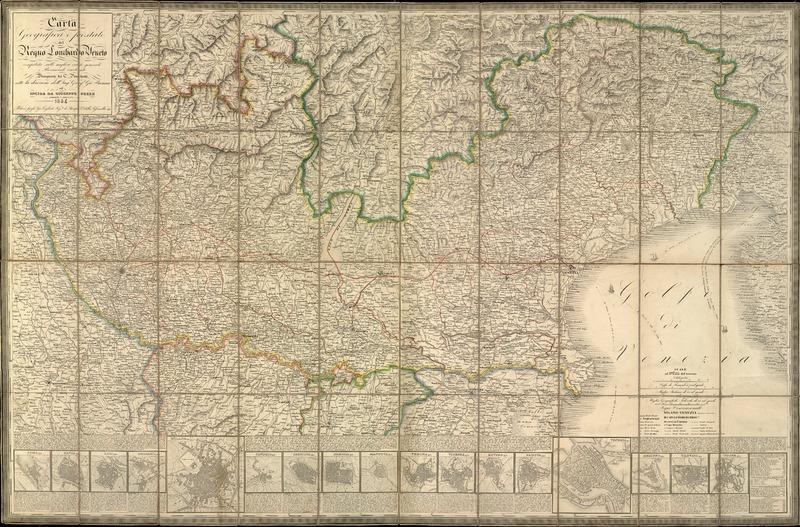 Cartina Geografica Veneto Fisica.Carta Geografica E Postale Del Regno Lombardo Veneto Compilata Sulle Migliori Carte Generali E Provinciali Esistenti
