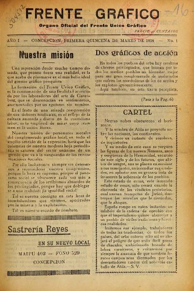 Frente gráfico organo oficial del Frente Unico Gráfico. - Biblioteca ...