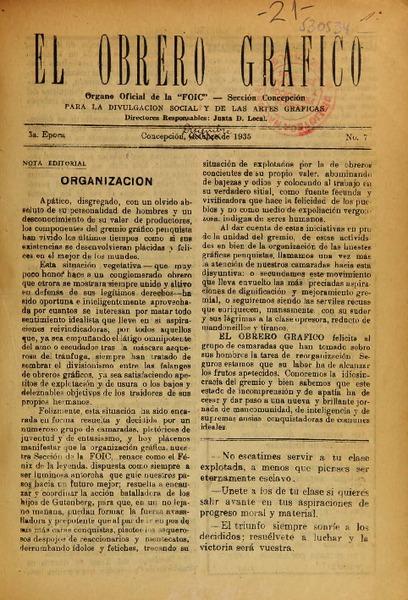 El Obrero Gráfico organo oficial de la FOIC, Sección Concepción ...